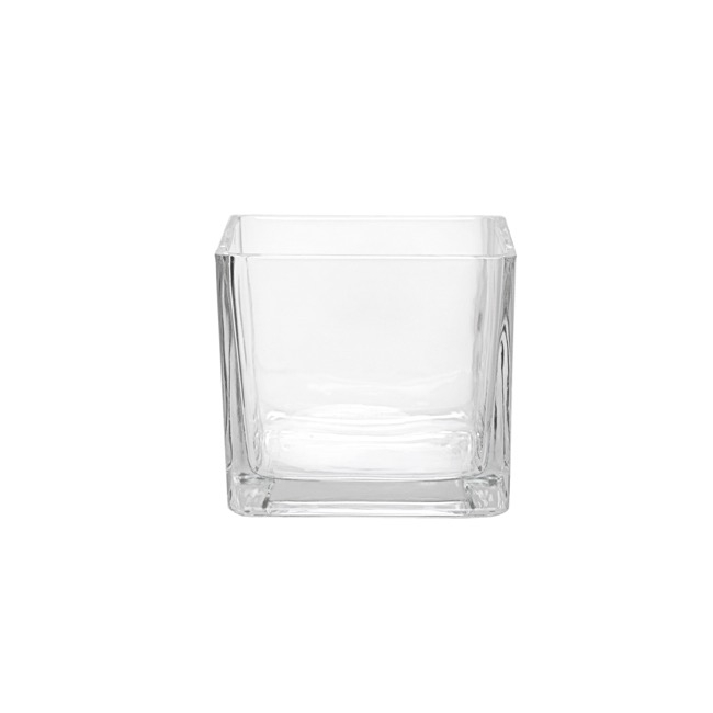 Glass Square Vases - Pressed Glass Cube Vase Clear (10x10x10cmH)