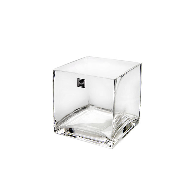 Cube and Square Vases - Glass Cube Vase 12cm Clear (12x12x12cmH)