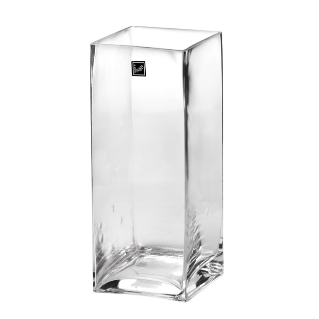 Glass Square Tank Vase 10x10x25cm Clear