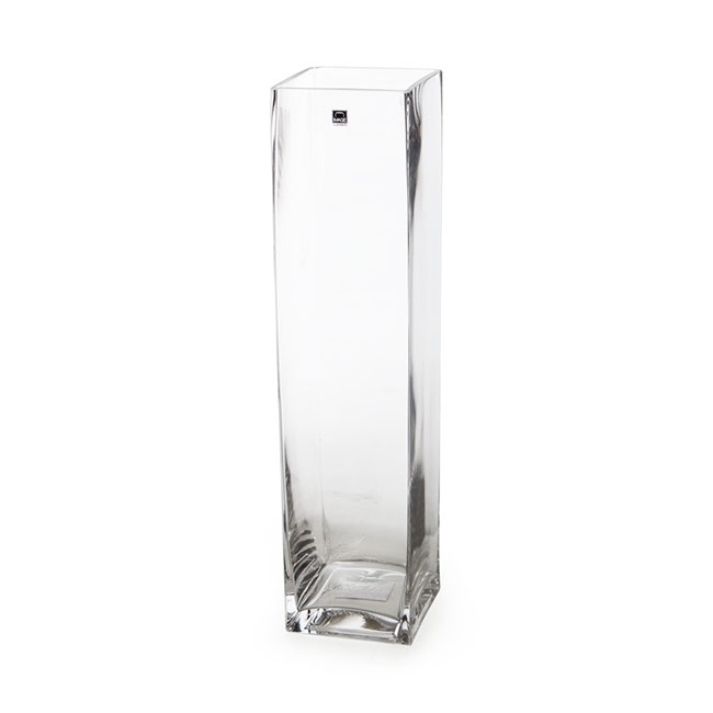 Glass Square Vases - Glass Square Tank Vase Clear (12x12x40cmH)