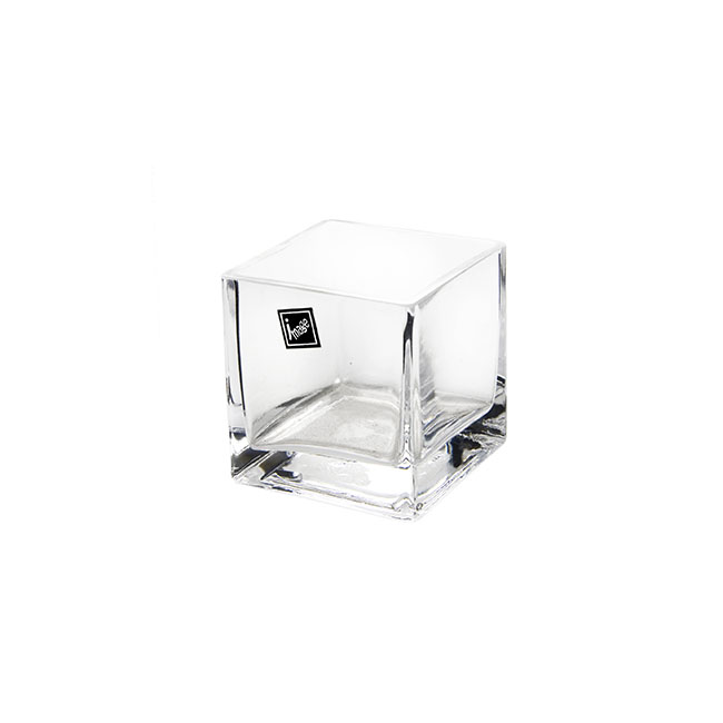 Glass Square Vases - Glass Cube Vase 08cm Clear (8x8x8cmH)
