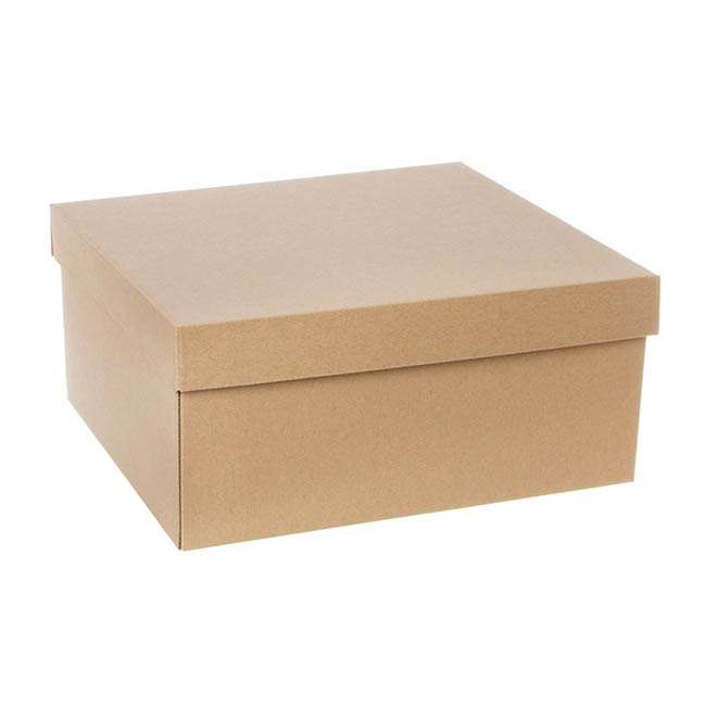 Cardboard Gourmet Box - Hamper Box Rectangle Large with Lid Brown Kraft(33x30x15cmH)