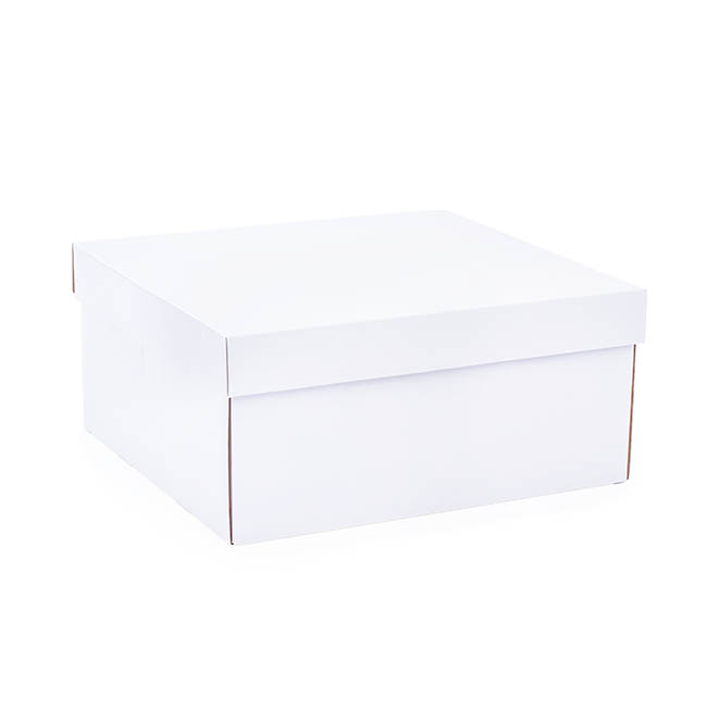 Cardboard Gourmet Box - Hamper Box Rectangle Large with Lid White (33x30x15cmH)