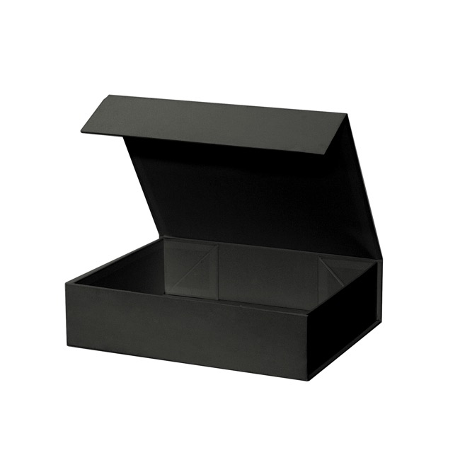 Cardboard Gourmet Box - Gourmet Gift Box Magnetic Flap Small Black (25x20x6.5cmH)