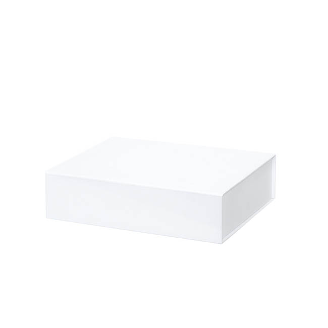 Cardboard Gourmet Box - Gourmet Box Magnetic Flap Small White (25x20x6.5cmH)