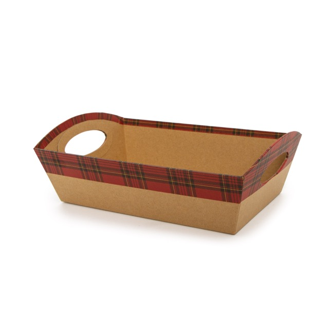 Cardboard Hamper Tray - Hamper Tray Rigid Large Tartan on Kraft (33x23x12cm)