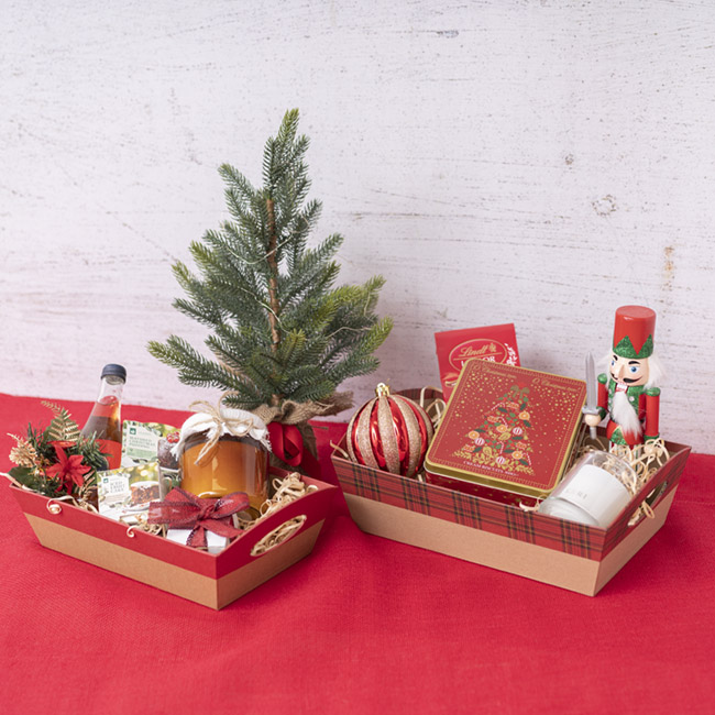 Cardboard Hamper Tray - Hamper Tray Rigid Medium Burgundy on Kraft (29x20x10cmH)