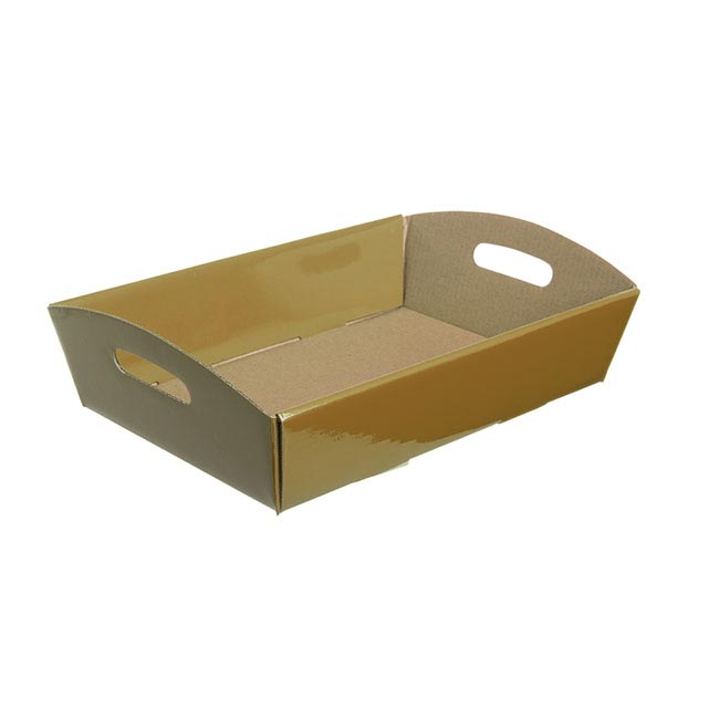 Cardboard Hamper Tray - Hamper Tray Flat Pack Small Gold (30x19x6cmH)