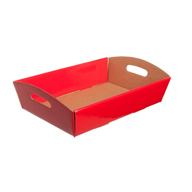 Cardboard Hamper Tray - Hamper Tray Flat Pack Small Red (30x19x6cmH)