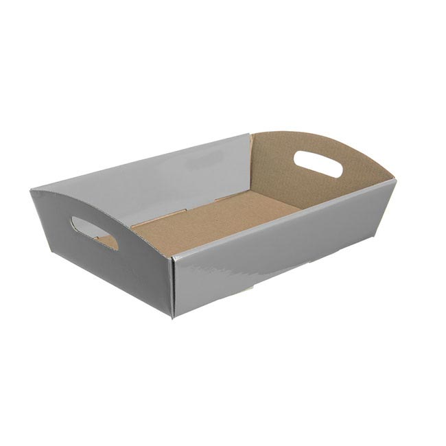 Cardboard Hamper Tray - Hamper Tray Flat Pack Small Silver (30x19x6cmH)
