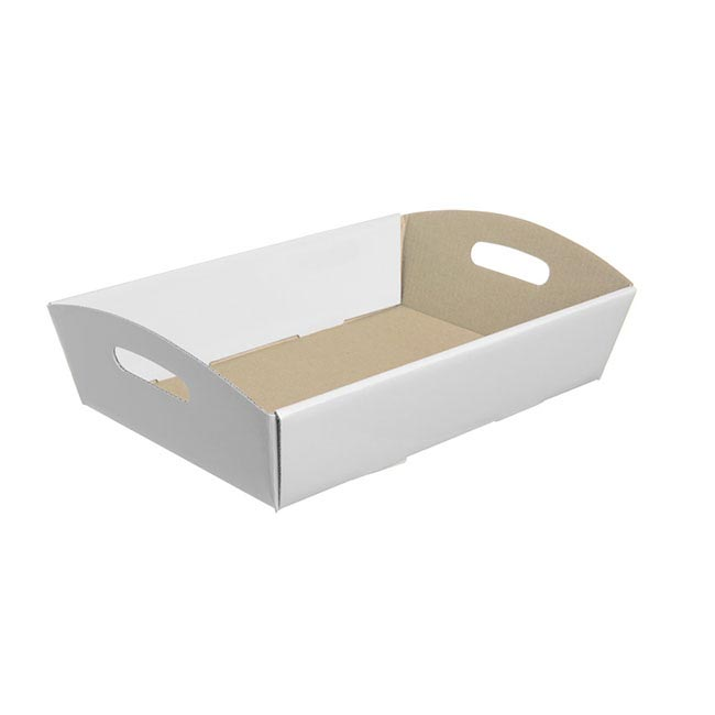 Cardboard Hamper Tray - Hamper Tray Flat Pack Small White (30x19x6cmH)