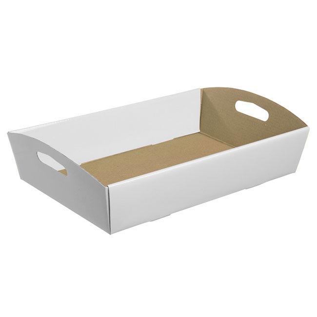 Cardboard Hamper Tray - Hamper Tray Flat Pack Large White (45x30x9cmH)