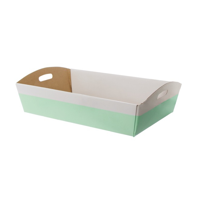 Hamper Tray Flat Pack Large White Mint (45x30x9cmH)