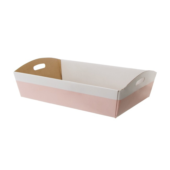Hamper Tray Flat Pack Large White Pink (45x30x9cmH)