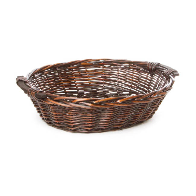 Hamper Tray & Gift Basket - Willow Bread Tray Oval Dark Brown (50x42x14cmH)