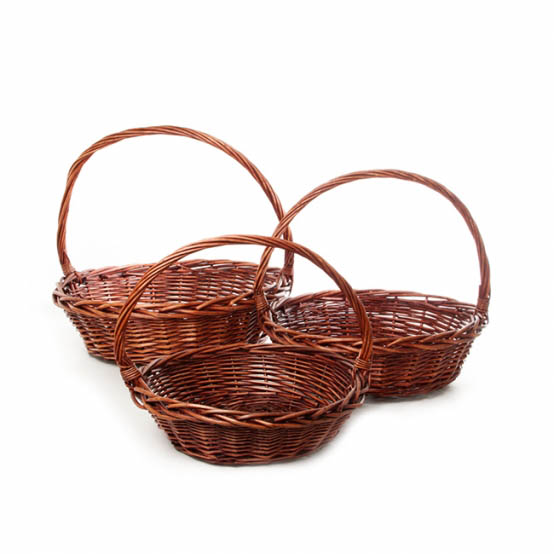 Baskets with Handles - Willow Basket with Handle Round Set of 3 Dark Brown(42x14cm)