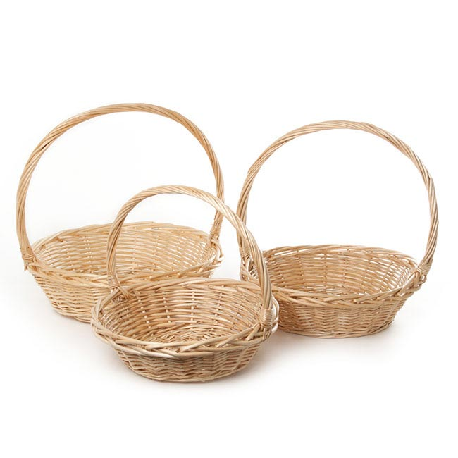 Baskets with Handles - Willow Basket with Handle Round Set of 3 Natural (42x14cmH)