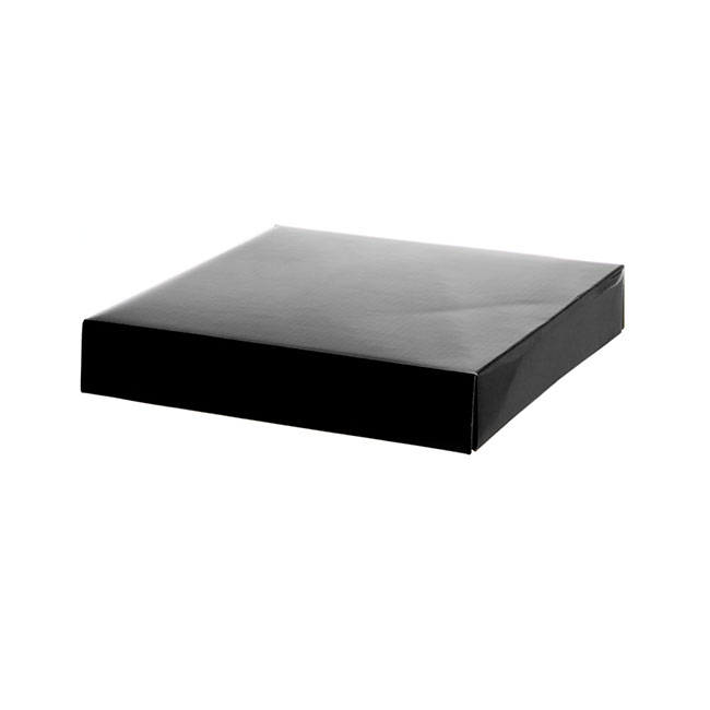 Gift Box and Lid - Posy Lid Large Gloss Black (22x22x4cmH)