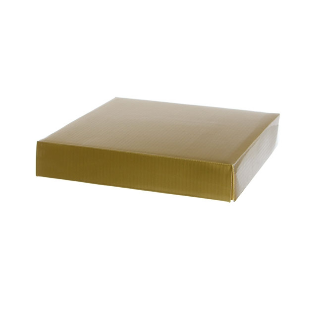 Gift Box and Lid - Posy Lid Large Gloss Gold (22x22x4cmH)