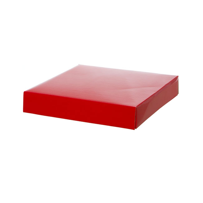 Gift Box and Lid - Posy Lid Large Gloss Red (22x22x4cmH)