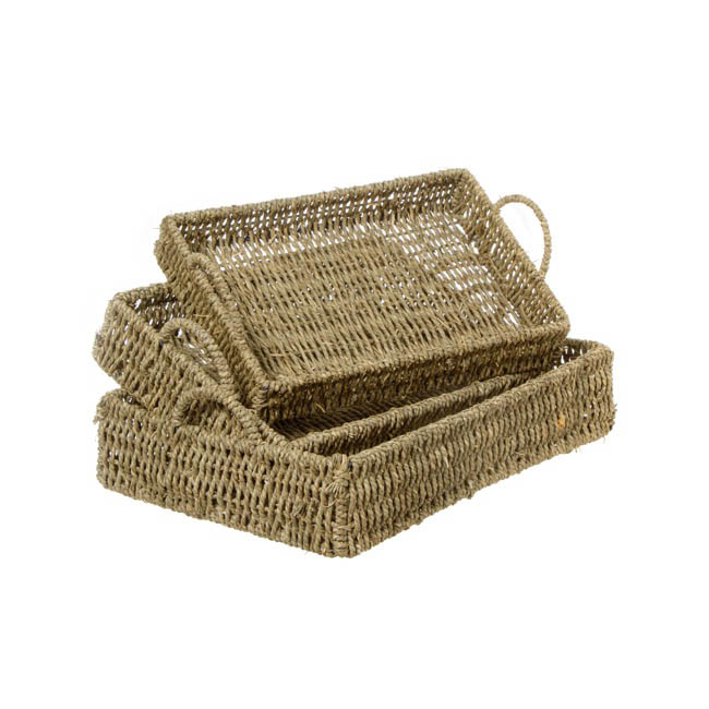 Seagrass Tray Rectangle Set of 3 Natural (42x30x9cmH)