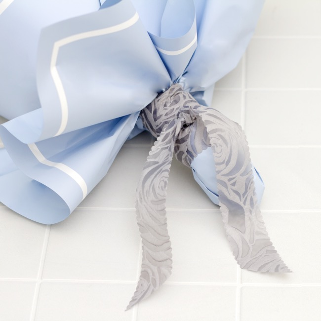 Nonwoven Floral Decor Ribbon - Nonwoven Ribbon Floral Grey (4cmx20m)