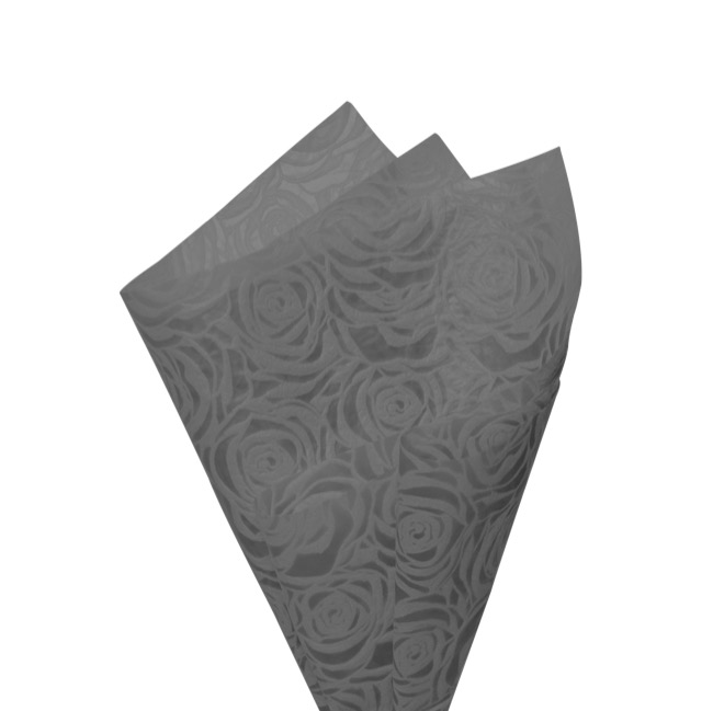 Printed Nonwoven Design - Nonwoven Wrap Floral 80gsm Grey (50x70cm) Pack 50