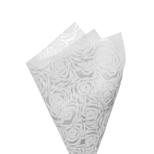 Printed Nonwoven Design - Nonwoven Wrap Floral 80gsm White (50x70cm) Pack 50