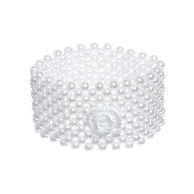 Oasis Corsage Pearl Flower Bracelet Large White (4cm)