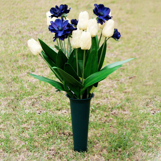 Floral Trays & Sympathy - Polyvase Cemetery Vase (10Dx33cmH) Green