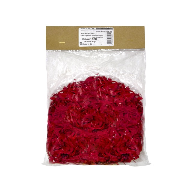 Shredded Paper - Shredded Paper Food Grade Red 50gm