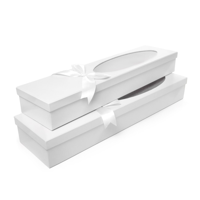 Rose Box With Window - Window Oval Rose Box Dozen White (76x21x11cmH) Set 2