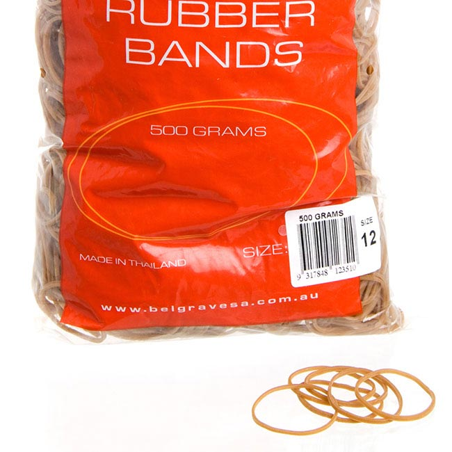 Rubber Bands - Rubber Bands Bag 500g Size 12 (44cmLx1.5mmW)