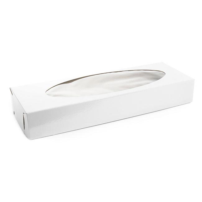 Rose Box With Window - Rose Box Flat Pack Dozen Window Oval White (74x25x11cmH)