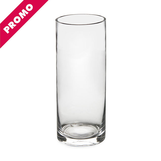 Glass Promo Cylinder Vase 10Dx25cmH Clear
