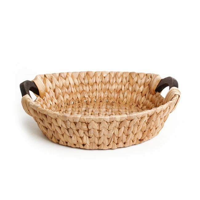 Hamper Tray & Gift Basket - Hyacinth Tray with Handles Round Natural (35x35x10cmH)