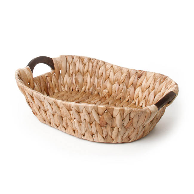 Hamper Tray & Gift Basket - Hyacinth Tray with Handles Oval Natural (41x32x10cmH)