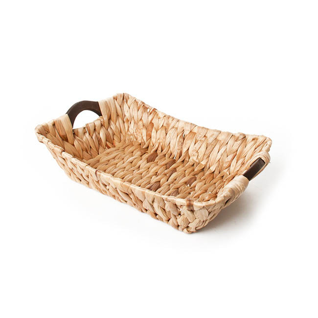 Hyacinth Tray with Handles Rectangle Natural  (35x26x9cmH)
