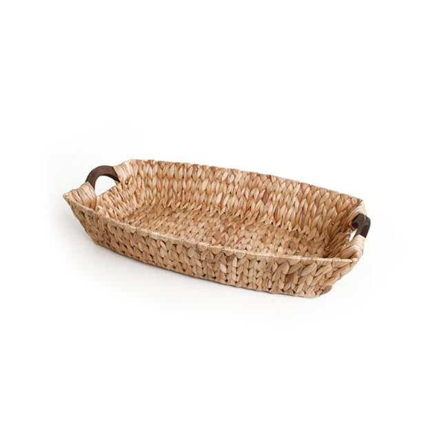Hamper Tray & Gift Basket - Hyacinth Tray with Wooden Handles Boat Natural (40x27x8cmH)