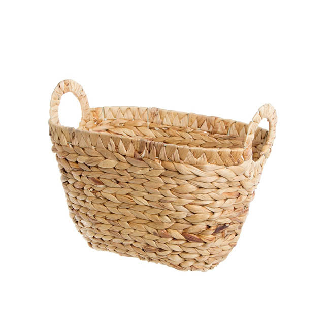 Water Hyacinth Basket Tapered Oval Natural (35x25x21cmH)