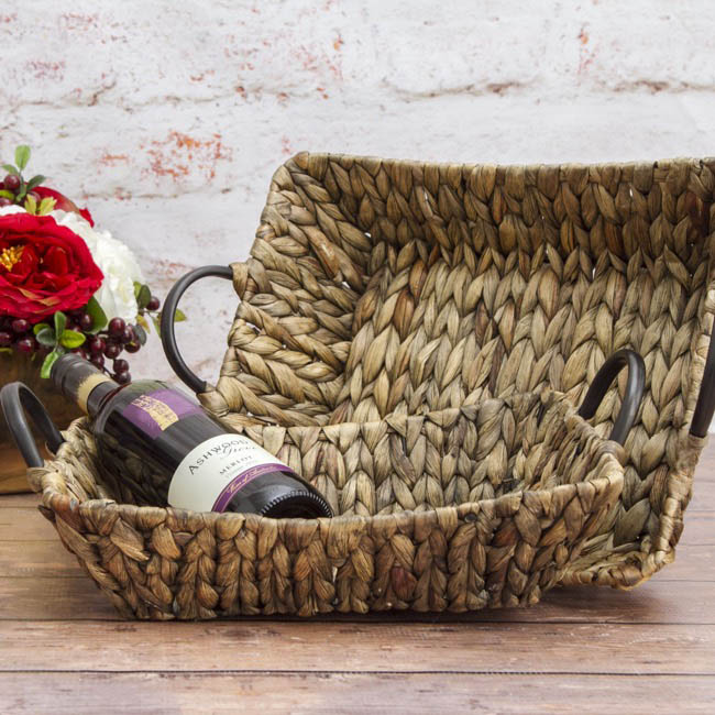 Hamper Tray & Gift Basket - Hyacinth Tray with Handles Rectangle Copper(37x30x10cmH)