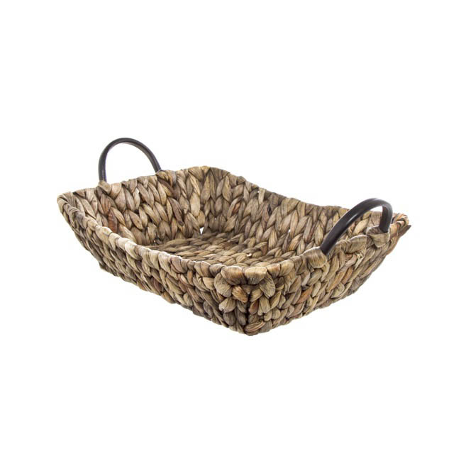 Hamper Tray & Gift Basket - Hyacinth Tray with Handles Rectangle Copper (35x26x9cmH)