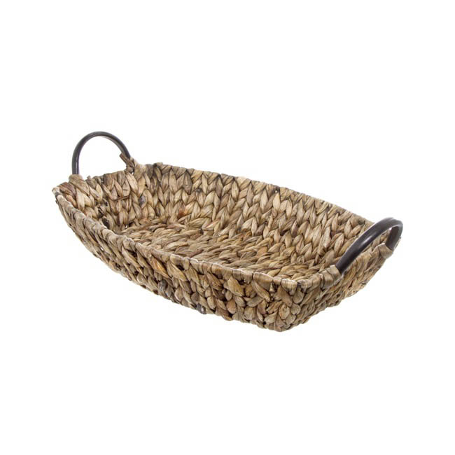 Hamper Tray & Gift Basket - Hyacinth Tray with Handles Boat Copper(40x27x8cmH)