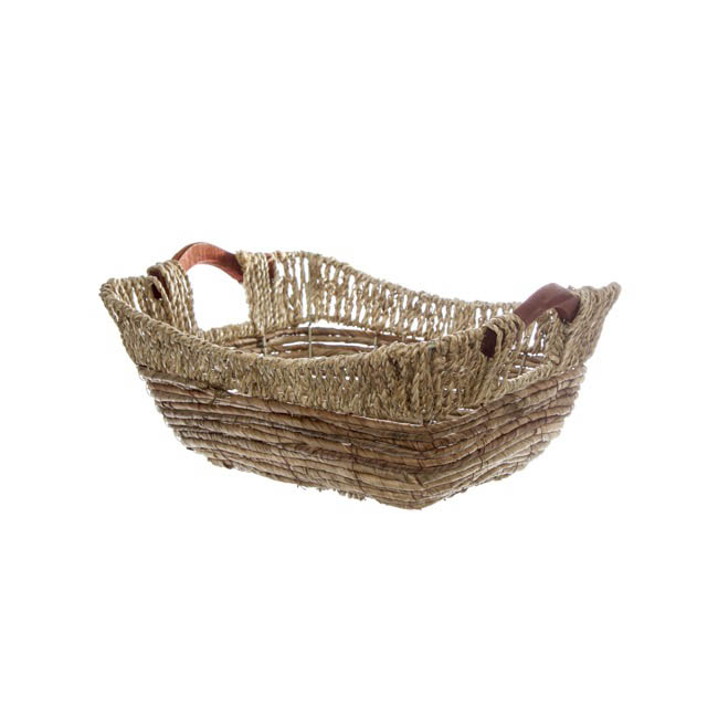 Hamper Tray & Gift Basket - Premium Seagrass Tray Rect. (34x28x12cmH) Natural