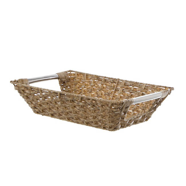 Artificial Wicker Tray Rectangle Large Natural (40x30x10cmH)