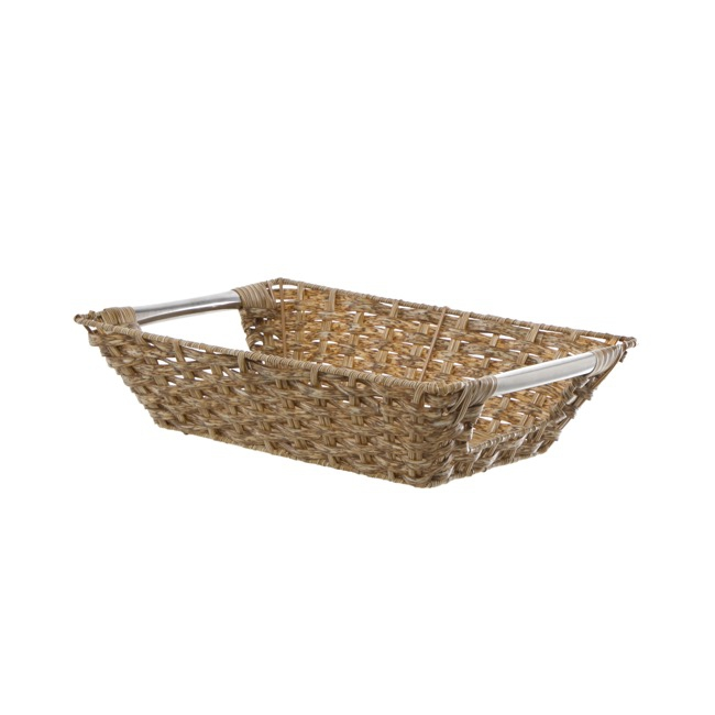 Artificial Wicker Tray Rectangle Small Natural (30x21x8cmH)