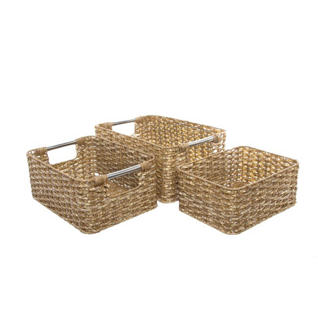 Artificial Wicker Storage Basket Set 3 Natural (35x25x15cmH)