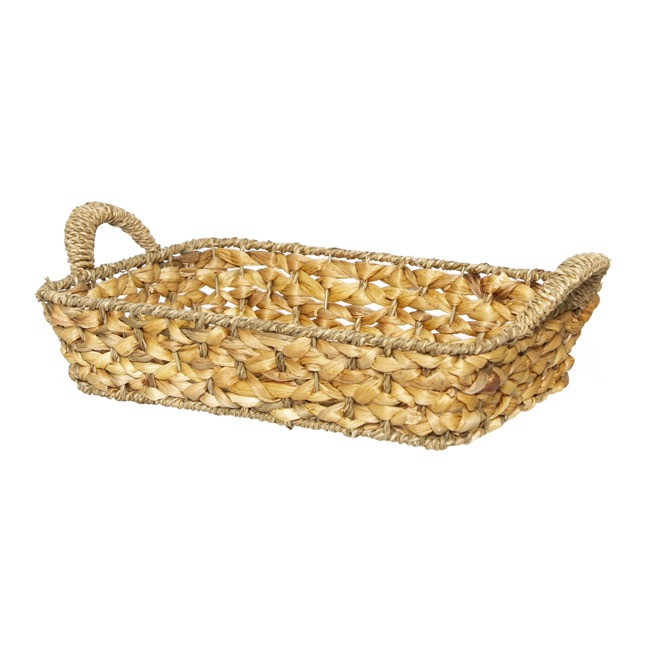 Hamper Tray & Gift Basket - Hyacinth Tray Joseph Rect. with Handle (36x26x8cmH) Natural