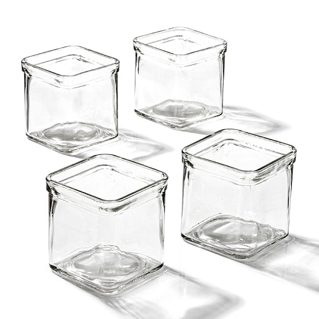 Candle Holders - Glass Candle Tealight Holder Cube 7.5x7.5x7.5cmH Clear