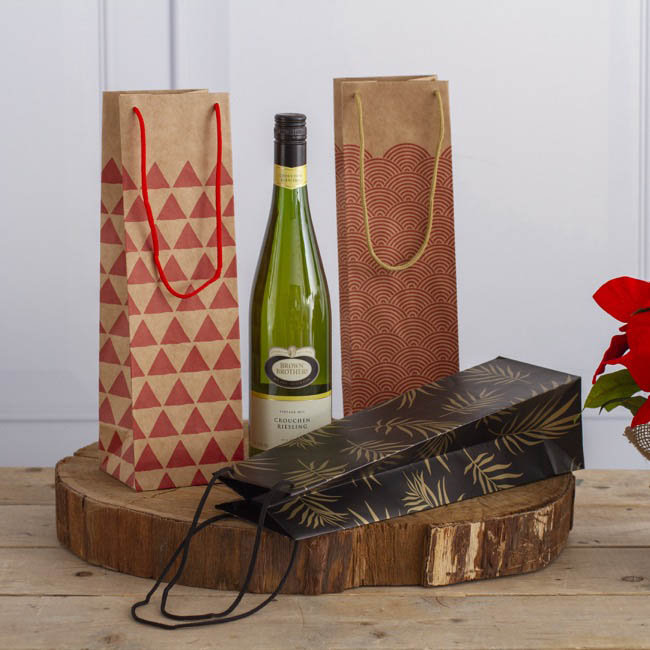 Wine Gift Bags - Wine Bottle Bag Single Kraft Scallop Red(11X9X35cmH)Pack 5